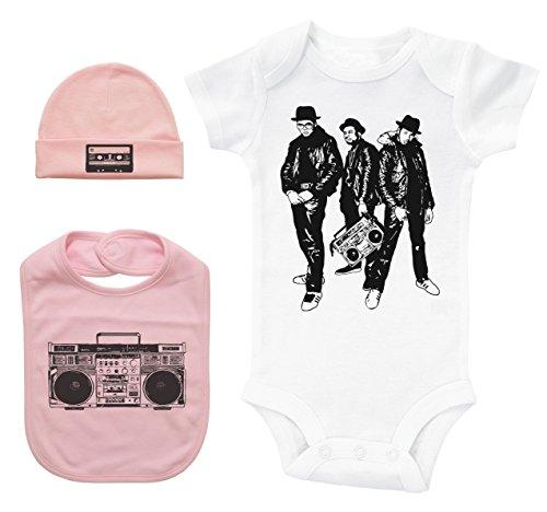 Hip Hop Baby Bundle White SS Bodysuit W/Hat & Bib/Run DMC/Unisex Gift Set (3-6M, Pink) -