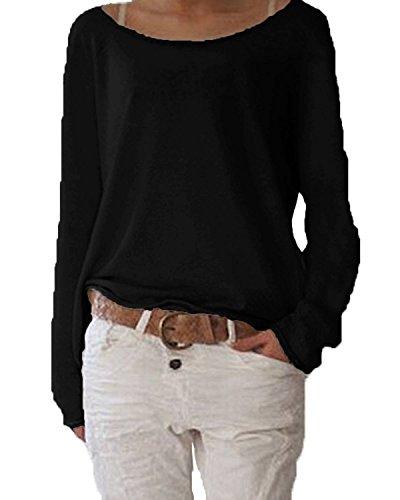 Minetom Mujer Moda Casual Blusa Manga Larga Camisa Camiseta Con Cuello Redondo Tops Color Sólido Negro