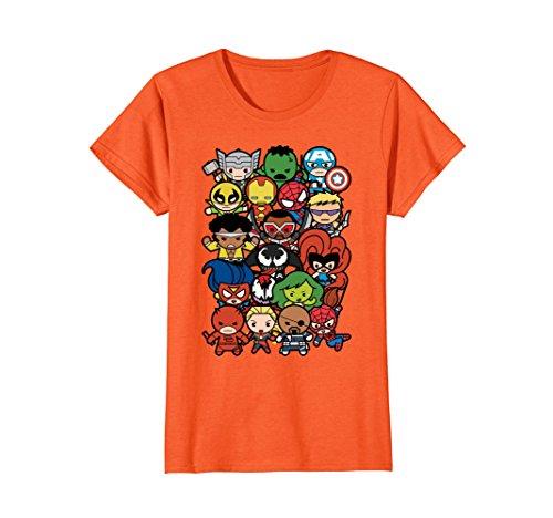 Womens Marvel Heroes And Villains Team Kawaii Graphic T-Shirt Small Orange -