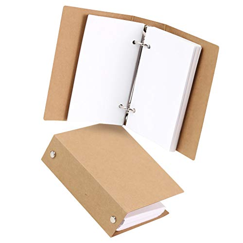 Koogel 300 PCS White Blank Paper with Kraft Binders , 3 x 5 Inche Note Paper with 2-Ring Binder Study Paper for Notes Taking Study Work List Making
