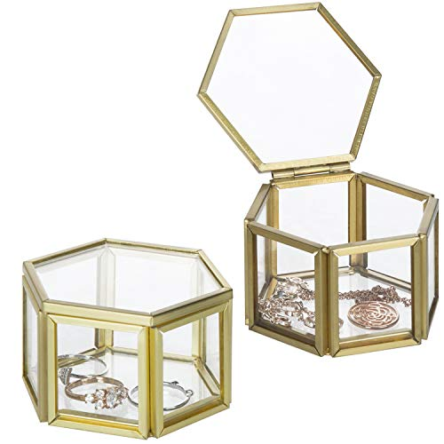 (MyGift Vintage Small Hexagonal Clear Glass & Brass Metal Jewelry Display Cases, Set of 2)