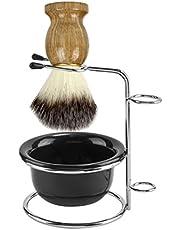 CCbeauty Men's Shaving Set with Stainless Steel Shaving Razor&Brush Holder Shaving Soap Bowl Mug Badger Hair Shaving Brush