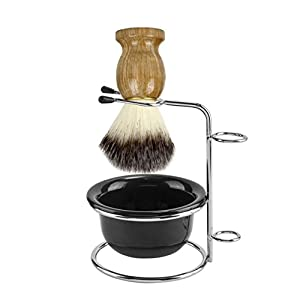 CCbeauty Men's Shaving Set, Stainless Steel Shaving Razor&Brush Holder Soap Bowl Mug Badger Hair Beard Brush