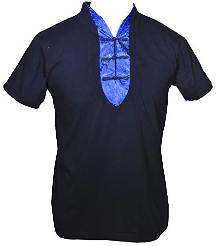 Amazing Grace Elephant Co. Men's Chinese Collar Traditional Top Cotton Tee Shirt (X-Large, Kung Fu Scholar/Navy Dragon) ()