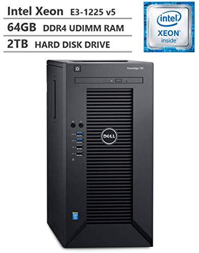 2019 Newest Dell PowerEdge T30 Premium Business Tower Server Desktop, Intel Xeon E3-1225 v5 up to 3.70GHz, 64GB DDR4 ECC UDIMM Memory, 2TB 7200RPM HDD, HDMI, DisplayPort, DVD-RW, No Operating System