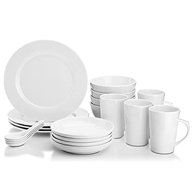 Dowan 20-Piece Dinnerware Set,Winter Frost White Porcelain,Service for 4