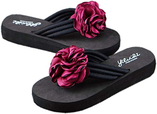 Bettyhome Vrouwen Dame Meisjes 1.18 Inch Sexy Satijnen Bloemen Rose Thongs Comfortabele Casual Wiggen Sandalen Strand Slippers Slippers Rood