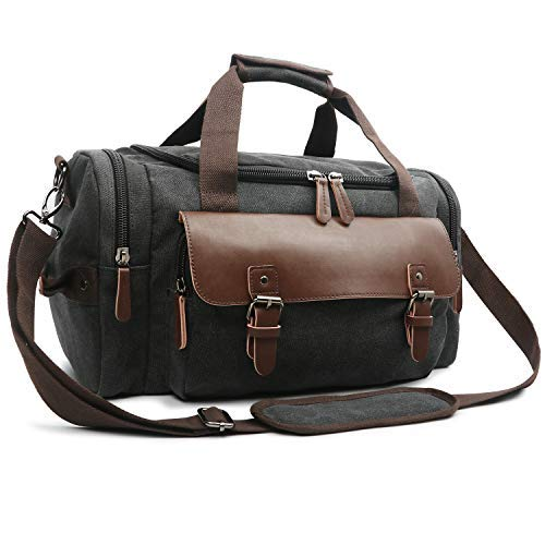 Oflamn Duffle Weekender Bag for Men Pu Leather Canvas Travel Overnight Carry on Bag with Multi-pockets (2.0 ()