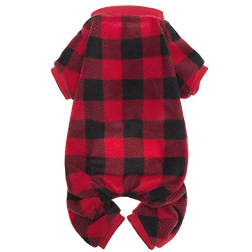 SCENEREAL Pet Fleece Pajamas for Dogs Christmas Red Plaid Sweaters Soft Xmas Clothes, S