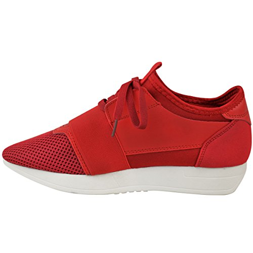Moda Donna Assetata Ragazze Stringate Sneakers Stretch Band Walking Scarpe Da Ginnastica Taglia Ecopelle Rossa