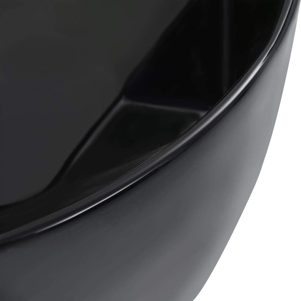 vidaXL Lavabo Lave-Mains Vasque /à Poser Monter Salle de Bain Int/érieur Salle dEau Cabine de Toilette Maison 36x14 cm C/éramique Noir