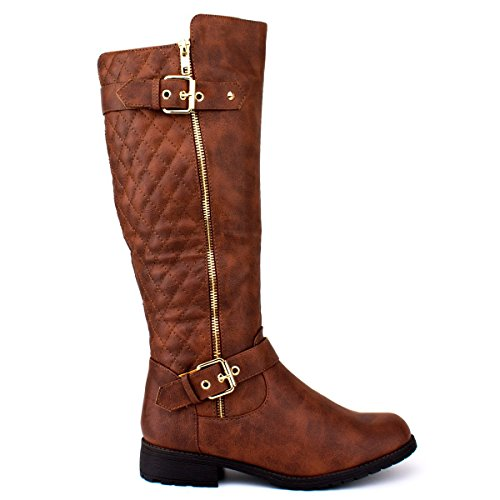 Forever Mango-21 Women's Winkle Back Shaft Side Zip Knee High Flat Riding Boots Brown 8.5