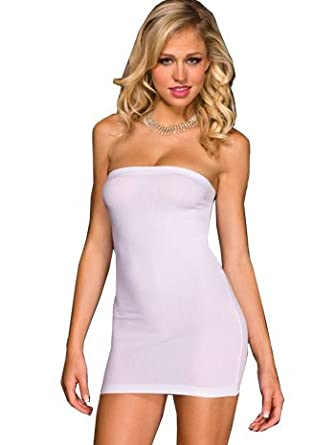 MUSIC LEGS Women's Strapless Opaque Mini Dress White One Size 6987