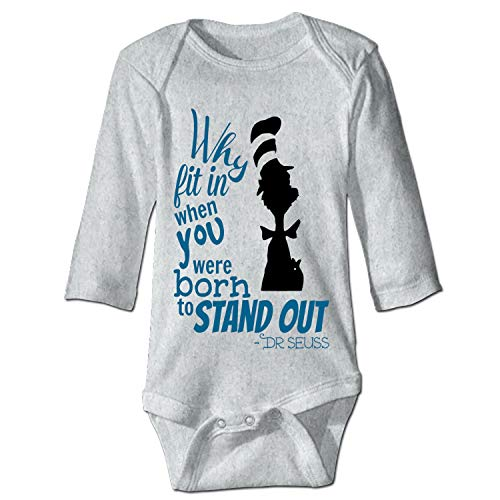 Dr-Seuss-Quotes-why-fit-in-When-You- Unisex Baby Long-Sleeve Onesies Cotton Bodysuits Infant Romper ()