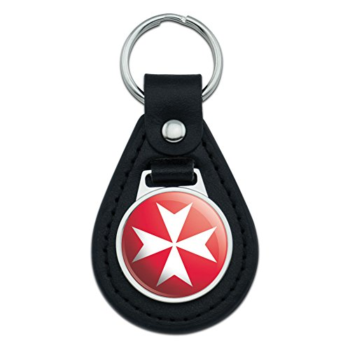 Graphics and More Maltese Cross Malta Middle Ages Black Leather Keychain ()