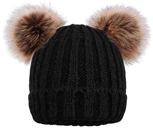 - Women's Knitted Beanie Hat Bouble Pompom Ears Faux Fur Hats