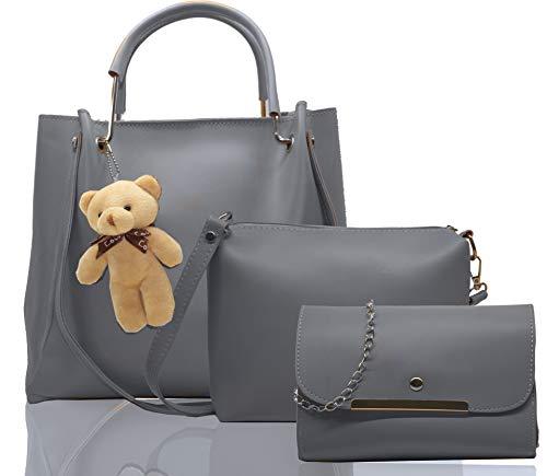 Fargo PU Leather Latest Stylish Handbags For Women's Ladies Combo Of 3 (Grey_Teddy_FGO-239)