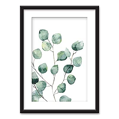 Majestic Handicraft, Classic Design, Framed Watercolor Style Tropical Plant Leaf Black Picture Frames White Matting