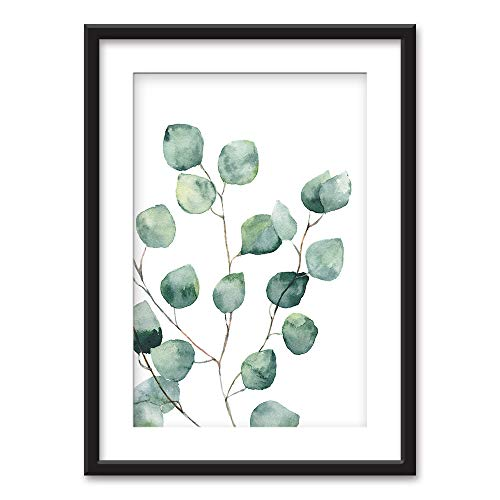 (wall26 - Framed Wall Art - Watercolor Style Tropical Plant Leaf - Black Picture Frames White Matting - 23x31 inches )