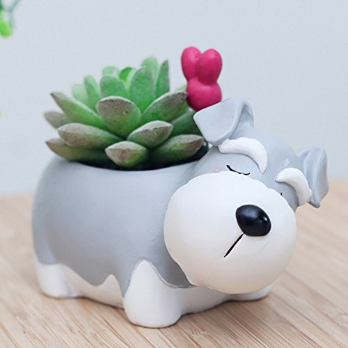 Peyan New Sleeping Schnauzer Animal Succulent Pots with Drainage Resin Mini Succulent Planter Garden Plants Vase Desk Flower Decoration