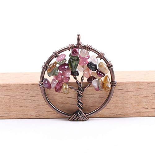 7 Chakra Reiki Healing Tree Of Life Pendant For Necklace Vintage Antique Copper Color Natural Stone Chip Bead Jewelry F084 Colorful Garnet - Extension Garnet Necklace