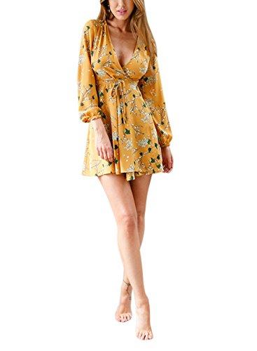 Siyinfushi Women Print Long Sleeve Sexy Deep V-neck Casual Summer Mini Dress (L, 02-Yellow)