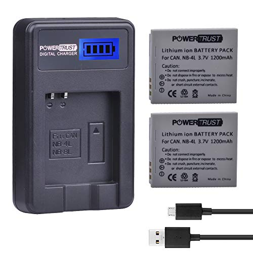 PowerTrust 2-Pack 1200mAh 3.7v NB-4L Battery and LCD USB Charger for Canon PowerShot ELPH 100 HS, 300 HS, 310 HS, SD1000, SD1100 is, SD1400 is, SD200, SD30, SD300, SD40, SD400, SD600, SD750, SD780 is