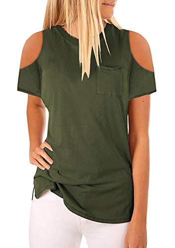 Niitawm Womens Cold Shoulder Short Sleeve T Shirts Summer Casual Round Neck Blouse Plain Shirts Camisole Tops with Pocket (4-Army Green, Small)