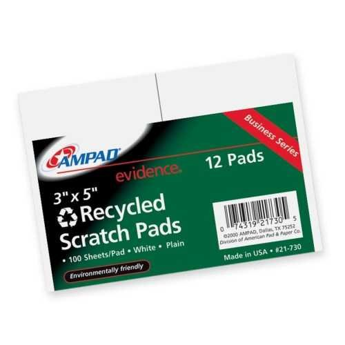 Bulk Scratch Pad, Recycled, 3''x5'', Plain, 100 Sheets: Ampad Tops 21-730 (144 Scratch Pads)