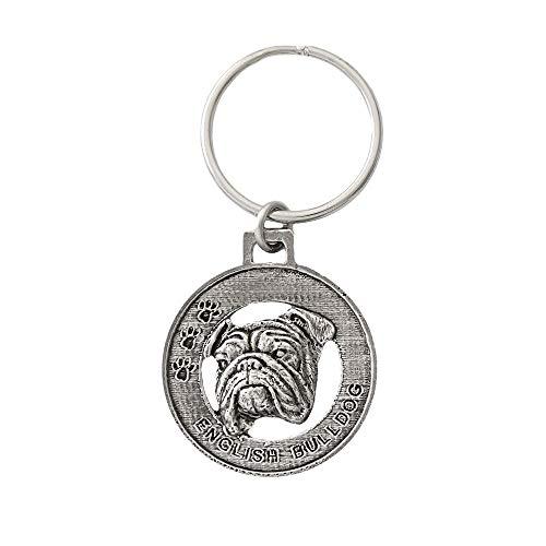 English Bulldog Dog Pewter Key Chain Key Fob Key Ring Gift, ()