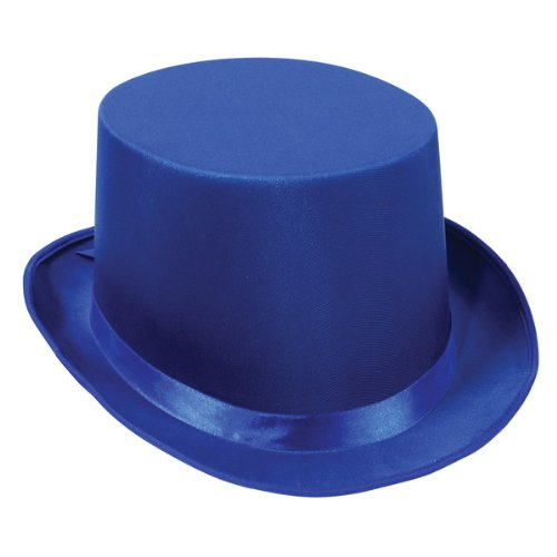 [Satin Sleek Top Hat (blue) Party Accessory  (1 count)] (Blue Top Hat)