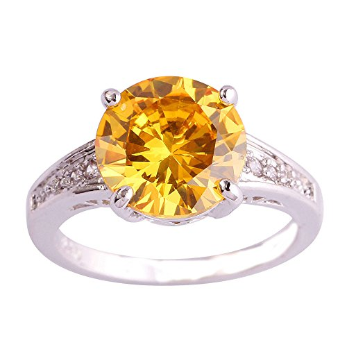 Citrine Lab - Empsoul Women's 925 Sterling Silver Natural Gorgeous Filled 3.5ct Citrine Topaz Wedding Engagement Ring