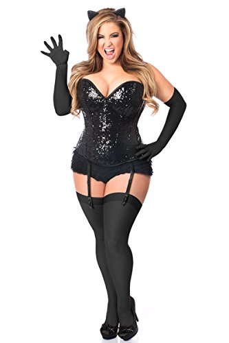 Daisy Corsets Women's Plus-Size Top Drawer 4 Piece Sequin Cat Corset Costume, Black, (Cat Costumes Plus Size)