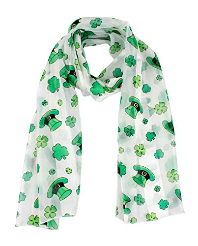 Jaweaver Women's Square Oblong Silk Satin Scarves Vintage Dots Head Scarf Shawl (St Patricks Day 1PC)