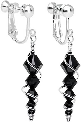 Body Candy Handcrafted Black Icicle Drop Clip Earrings Created with Swarovski Crystals