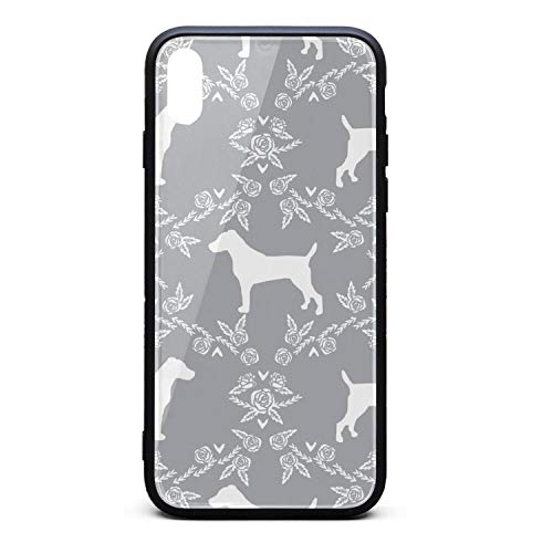 - Custom Phone Case for iPhone X Terrier Dog Silhouette Floral Rubber Frame Tempered Glass Covers Pretty Shock-Absorbing Skid-Proof Never Fade Cell Cases Fit