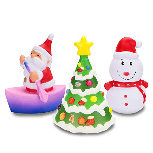 (WATINC 3 Pcs Christmas Squishy Sensory Toys Kawaii Santa Claus Cream Scented Stress Relief Kids Toy Christmas Tree Squishy Toy Snowman Squeezable Doll for Christmas Decorative Props Gift)