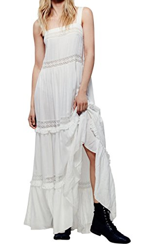 CA Mode Women Maxi Summer Beach Evening Prom Peasant Garden Party Slip Dress (Dress White Summer Cotton)