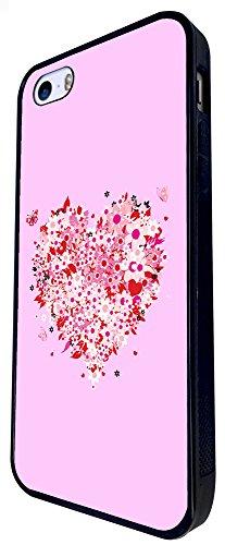1541 - Cool Fun Trendy Cute Pink Floral Flower Heart Love Valentines Day Design iphone SE - 2016 Coque Fashion Trend Case Coque Protection Cover plastique et métal - Noir