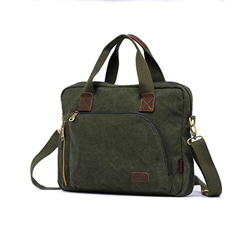 Army Green Men Crossbody Bag Briefcase Shoulder Bag Messenger Bag Business Bag I Pad Tablet Korean Canvas Travel Rucksack Satchel Casual Bag Vintage Outdoor Shoulder Pack Women Hiking Laptop - Bag Messenger 13' Green