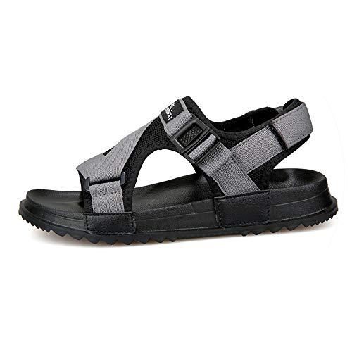 Sandals Men Shoes Gladiator Men's Sandals Roman Men Shoes Summer Flip Flops Gray Black Flat Sandals Large -