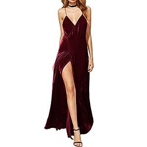 Verdusa Women's V-Neck Backless Wrap Velvet Cocktai Party Dress