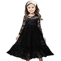 CQDY Lace Flower Girl Dress Long Sleeves Princess Communion Dresses
