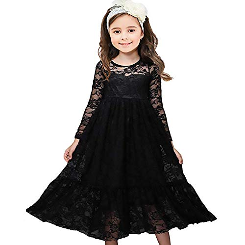 CQDY Lace Flower Girl Dress Long Sleeves Princess Communion Dresses -