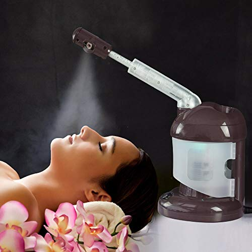 Facial Steamer with Extendable Arm, Ozone Table Top Mini Spa Face Steamer Design For Personal Care Home Use, Coffee