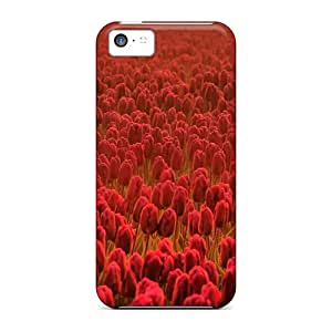 AbaPwAf7567YFJQV Case Cover Protector For Iphone 5c Flowers Fields Tulips Case