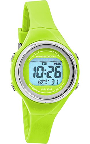 Women's Watches by Sportech - Lime Green Digital Water Resistant Sport Watch - Make Every Second Count - SP10711