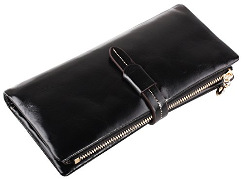 Heshe Leather Wallets for Women Long Clutch Zippered Closure with 12 Credit Card Case Slots (Black)