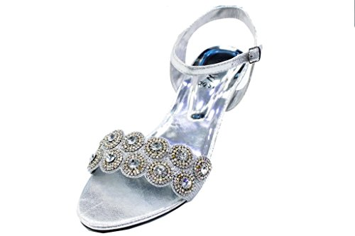W&W Women Ladies Diamante Slip On Party Evening Shoes Sandals (SAN 2031) Silver wZw9IsF6