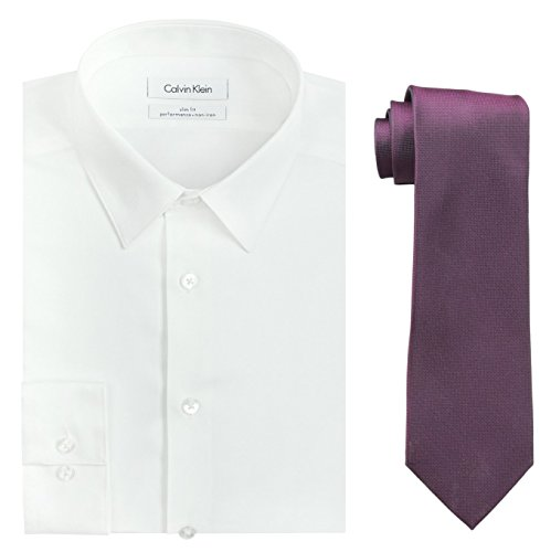 Calvin Klein Men's Slim Fit Herringbone Dress Shirt and Silver Spun Tie Combo, White/Fuchsia, 16